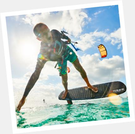aprenda andar de kitefoil
